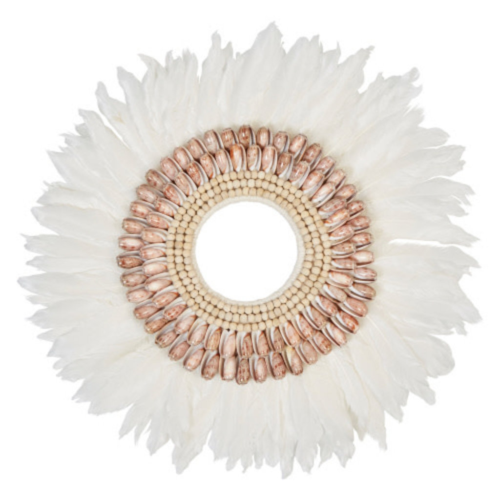 Creative Coop FEATHER WALL DECOR W/ SHELLS, WHITE