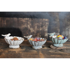 Creative Coop Decorative Pewter Bowl W/Bird