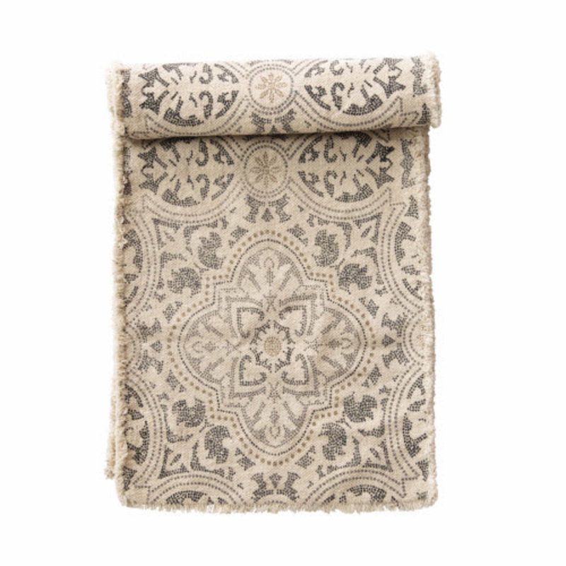 "Bloomingville 72"" COTTON TABLE RUNNER W/ FRAY, GREY & CREAM"