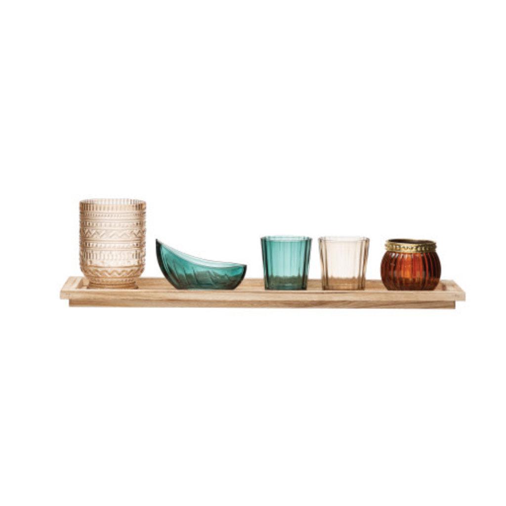 "Creative Coop 17""L Paulownia Wood Tray w/ glass Votive"