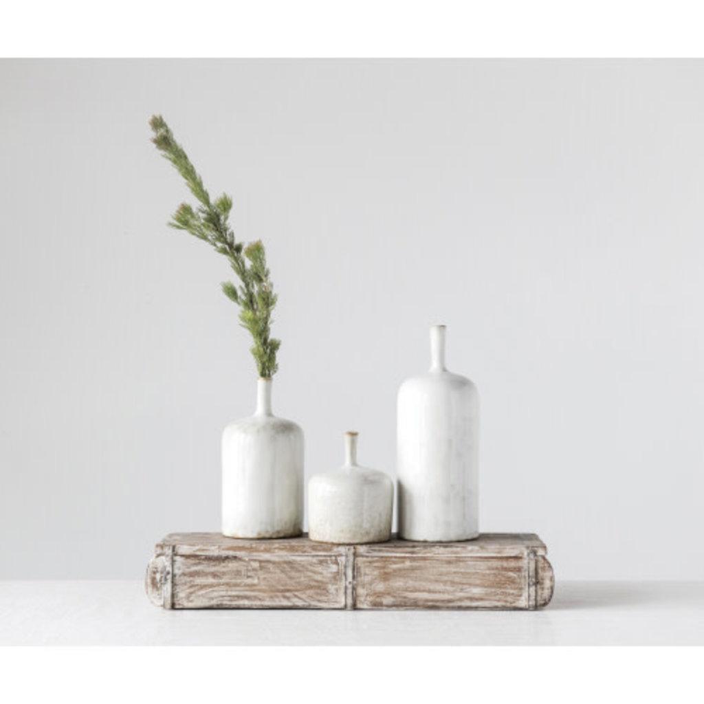 "Creative Coop 6""H Stoneware Vase - White"
