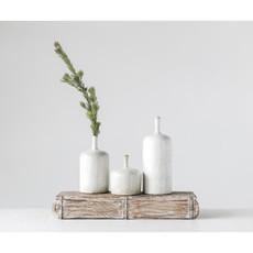 "Creative Coop 12.5""H Stoneware Vase - White"