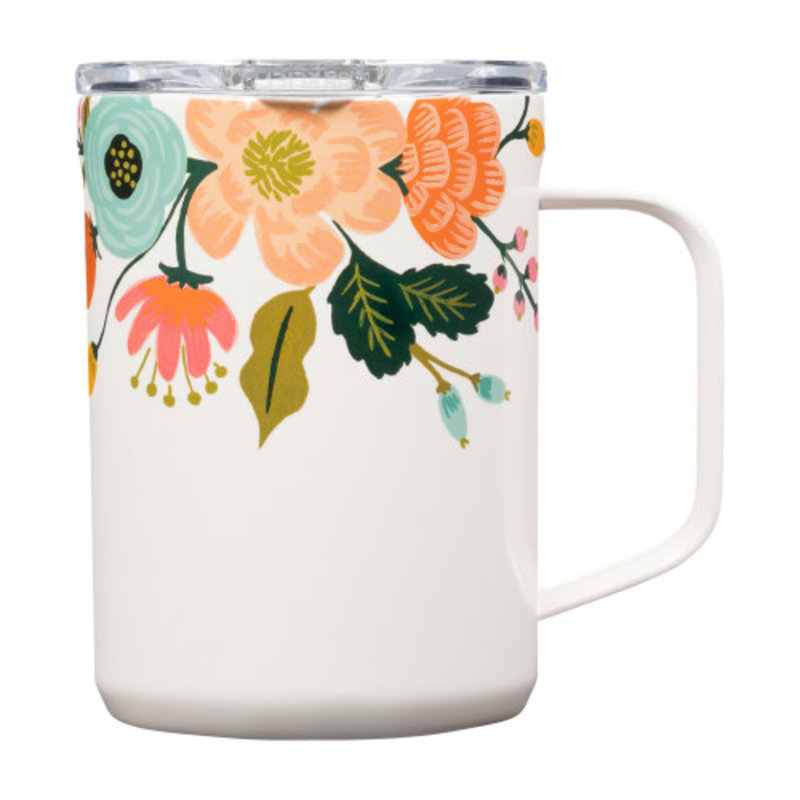 Corkcicle MUG - 16OZ RIFLE PAPER - GLOSS CREAM LIVELY FLORAL