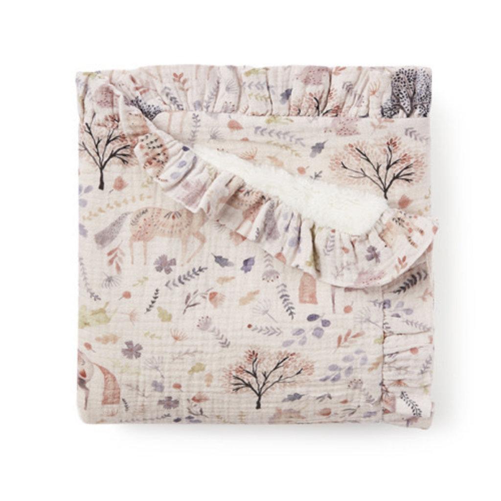 Elegant Baby FLORAL PRINT BLANKET-FUR BACK