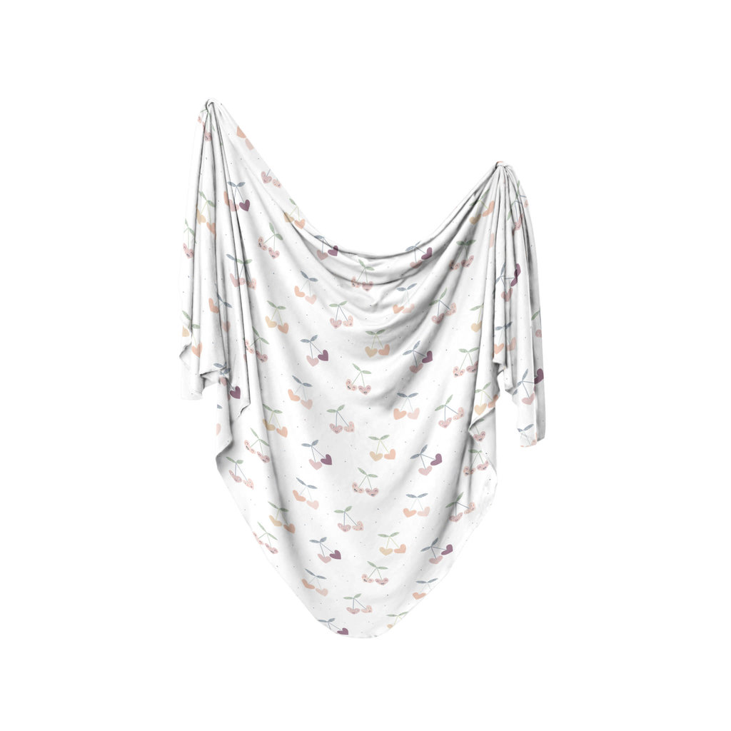 Dolly Lana Knit Baby Swaddle - Cherry Hearts