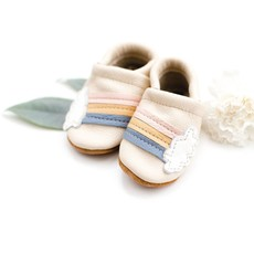 Starry Knight Designs Shoes with Designs - Rainbow on cream  NB-3M