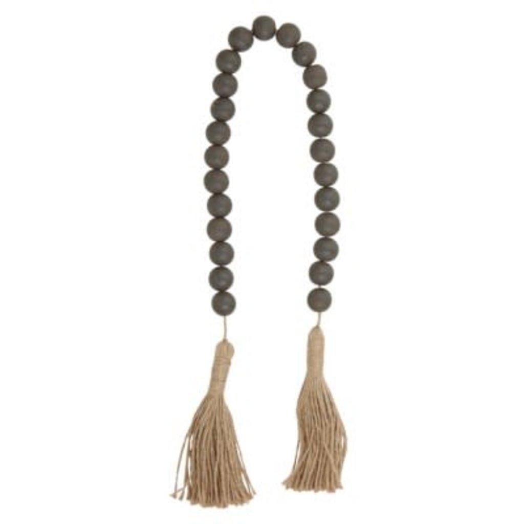 Dark Charcoal Wood Bead W/ Jute Tassel