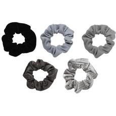 Velvet Scrunchies-Black/Grey