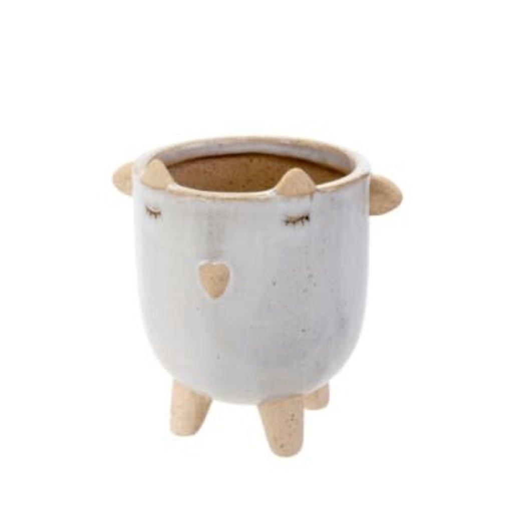 Indaba Little Lamb Pot, White