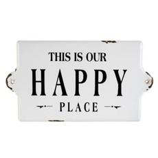 Indaba Happy Place Enamel Sign