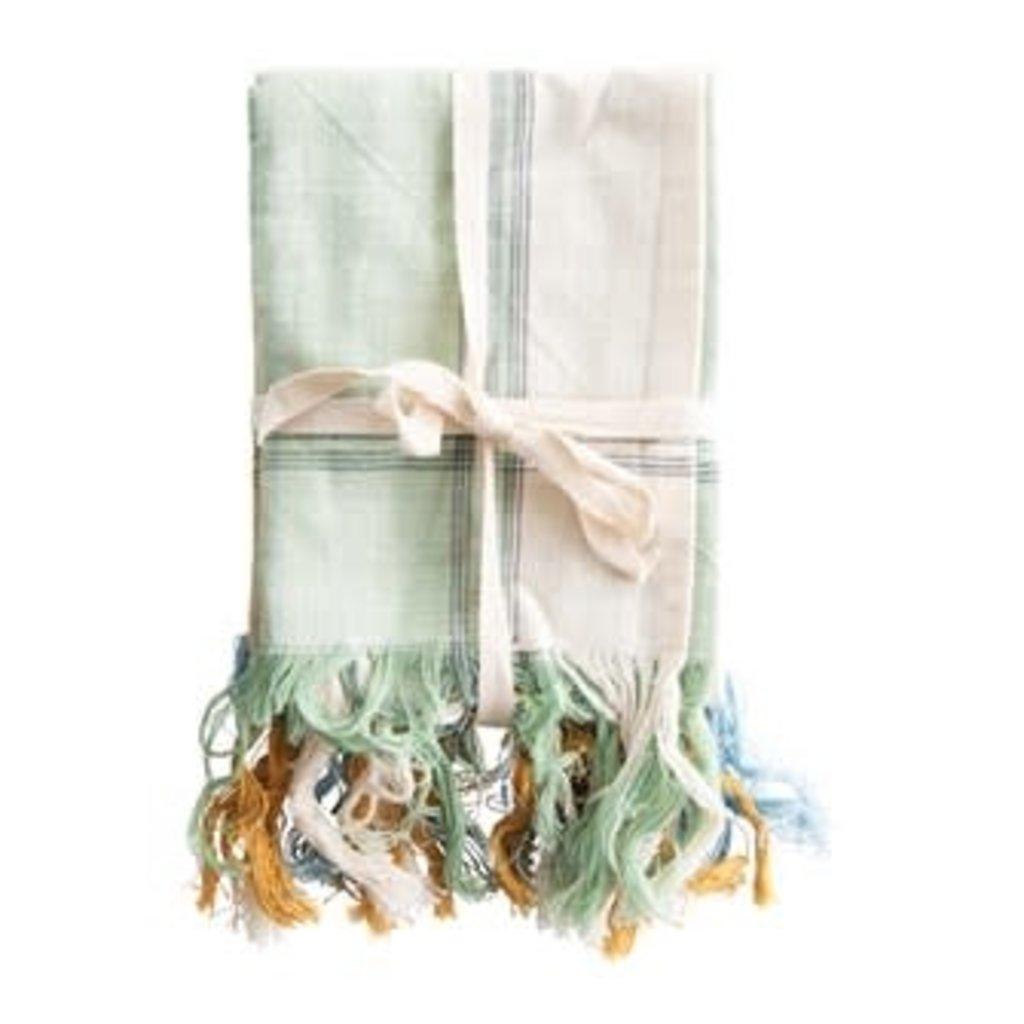Creative Coop Cotton Tea Towels W/Fringe - Yellow