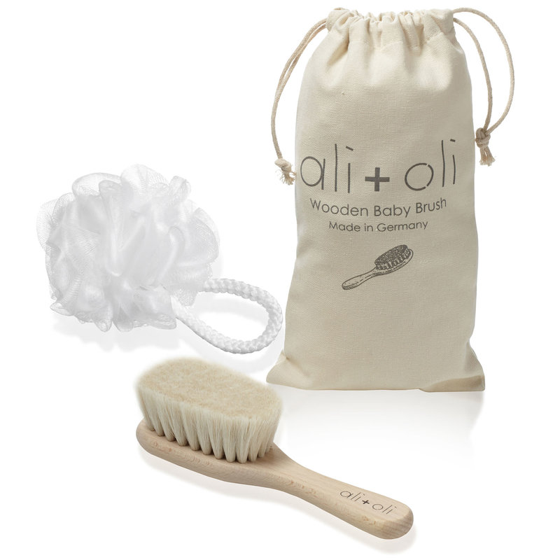 Ali+Oil Wooden Baby Brush with Natural Beech Wood and Goat Hair