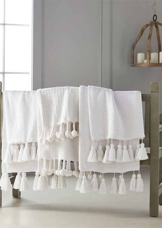 STITCH WEAVE WHITE THROW