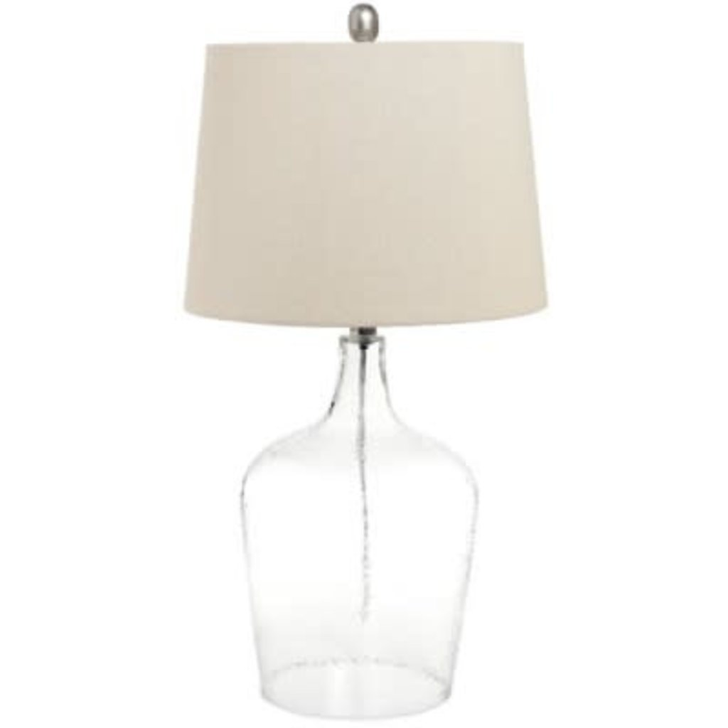 The Pine Centre Table Lamp - Glass and Linen Shade