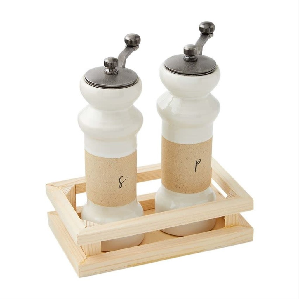 STONEWARE GRINDERS IN CRATE
