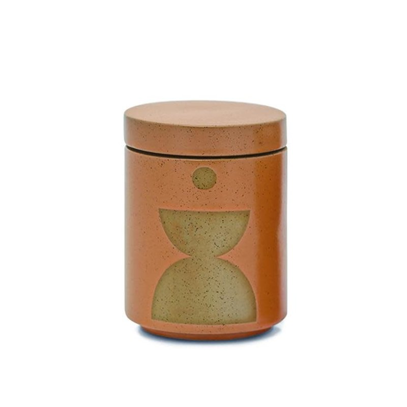 Paddywax FORM 12 OZ BURNT SIENNA GLAZED CERAMIC WITH LID - WILD FIG AND VETIVER
