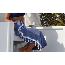 Turkish T Basic Single Stripe Towel Light Pink