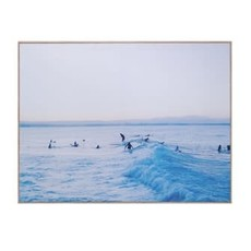 Creative Coop Framed Canvas Wall Decor With Surf Scene