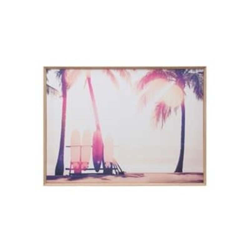 Creative Coop Framed Canvas Wall Decor With Surfboards
