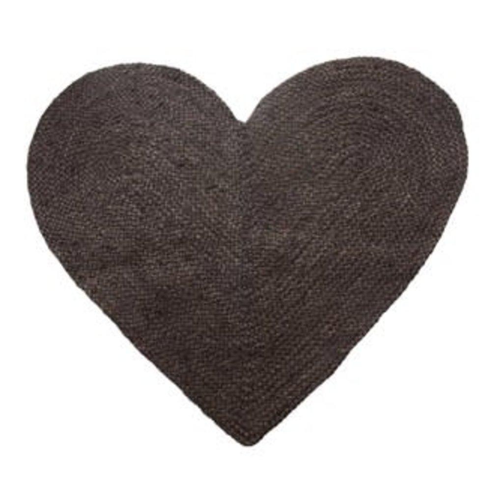 Creative Coop Braided Jute & Cotton Heart Shaped Rug