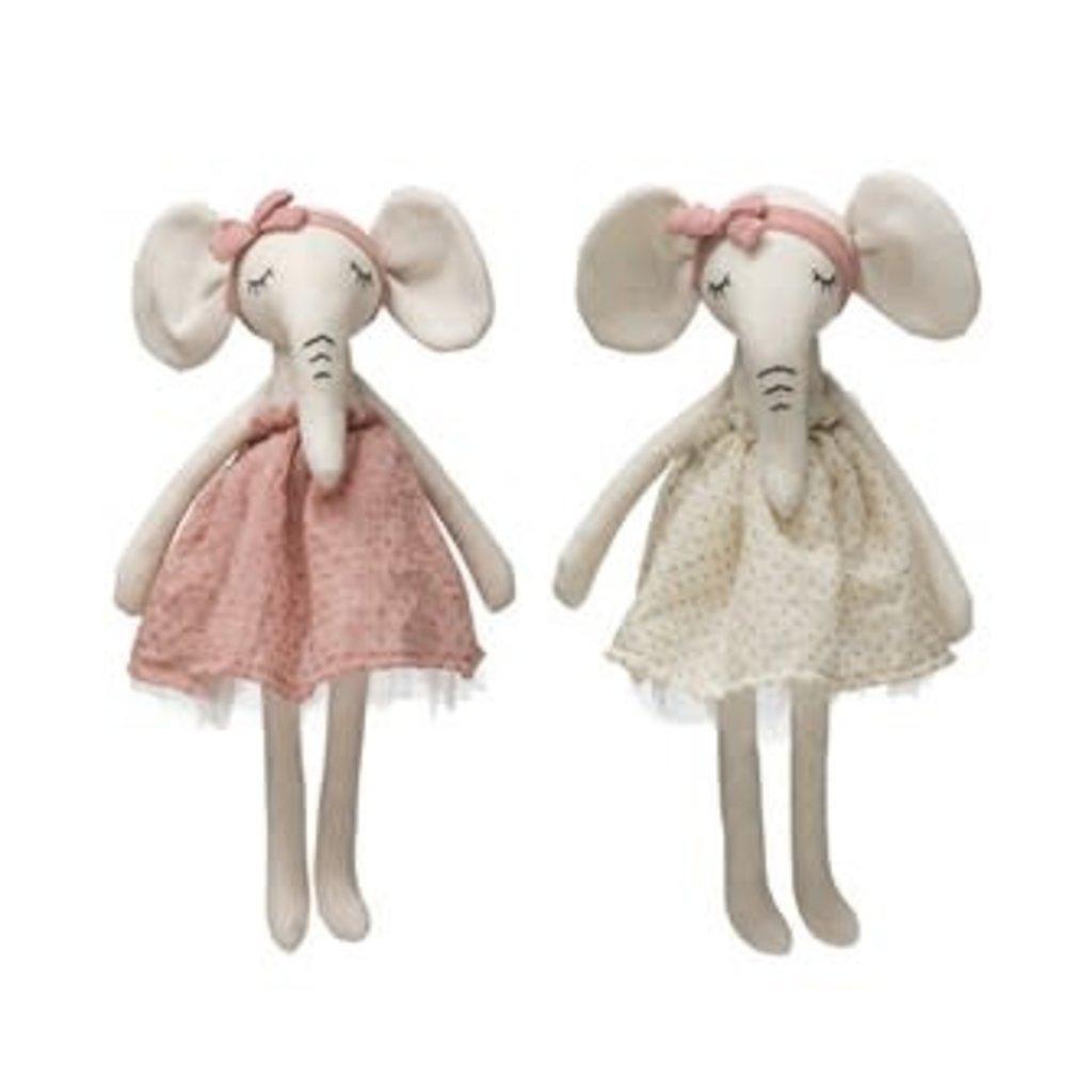 Creative Coop Linen Cotton Elephant in Dress