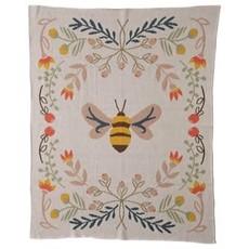 Creative Coop Cotton Knit Baby Blanket W/ Bee