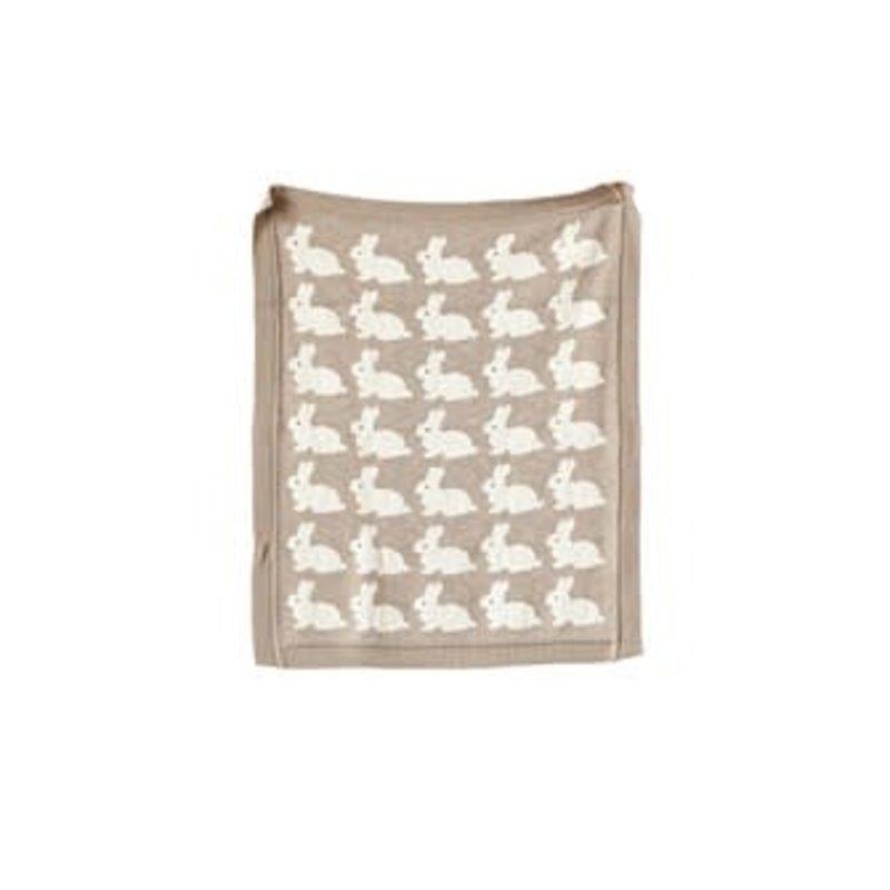 Creative Coop Cotton Knit Baby Blanket W/ Rabbit