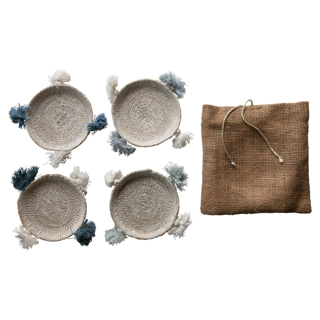 Creative Coop 4 Hand-Woven Seagrass Coasters with Tassels