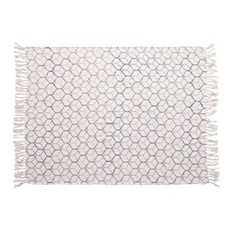 Creative Coop Stonewashed Cotton Blend Throw with Ogee Pattern