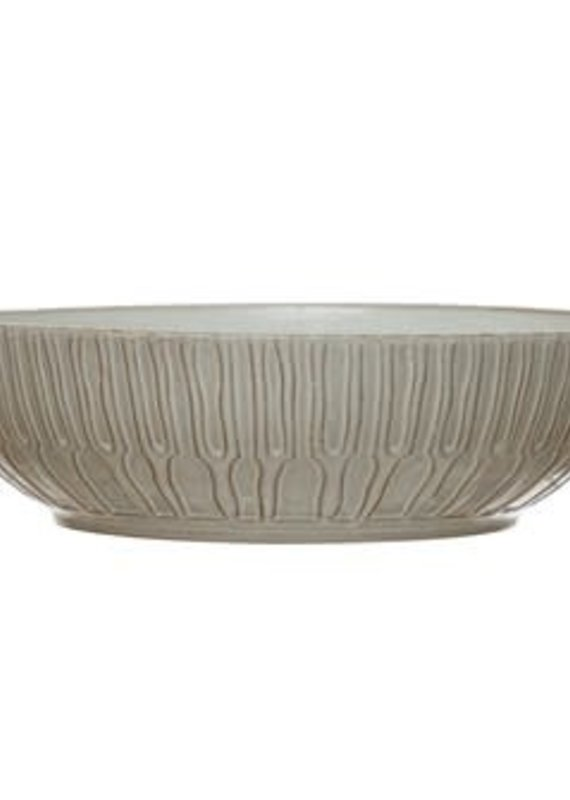 Creative Coop Debossed Stoneware Bowl - White
