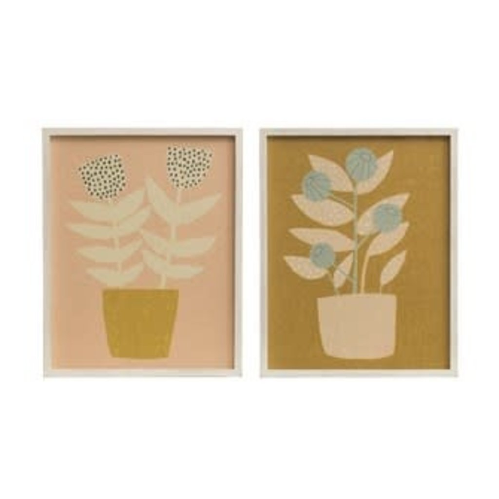 Creative Coop Wood Framed Wall Decor with Floral Image