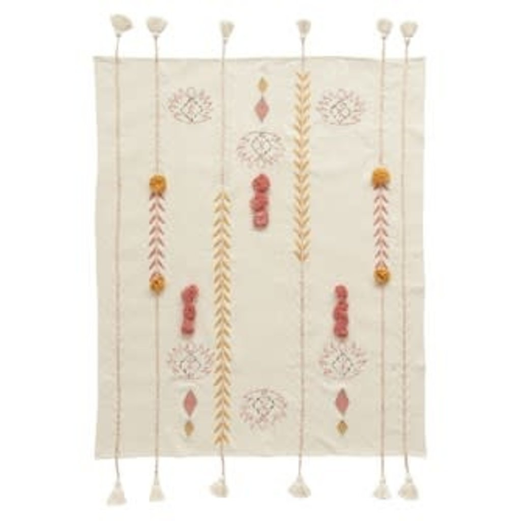Creative Coop Cotton Embroidered Throw with Tassels