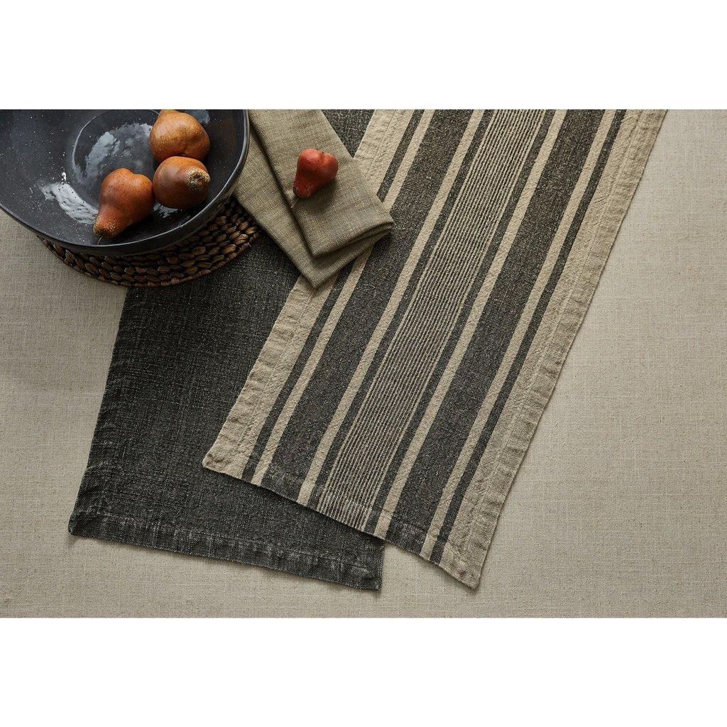 """Split P 60""""L Washed Linen Stripe Table Runner - Slate"""