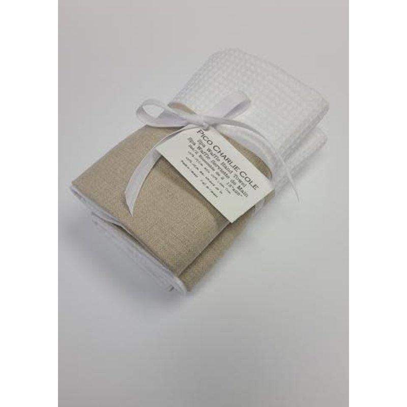 Pico Charlie Cole Spa Waffle Weave Hand Towel - Set of 2 - Natural Linen