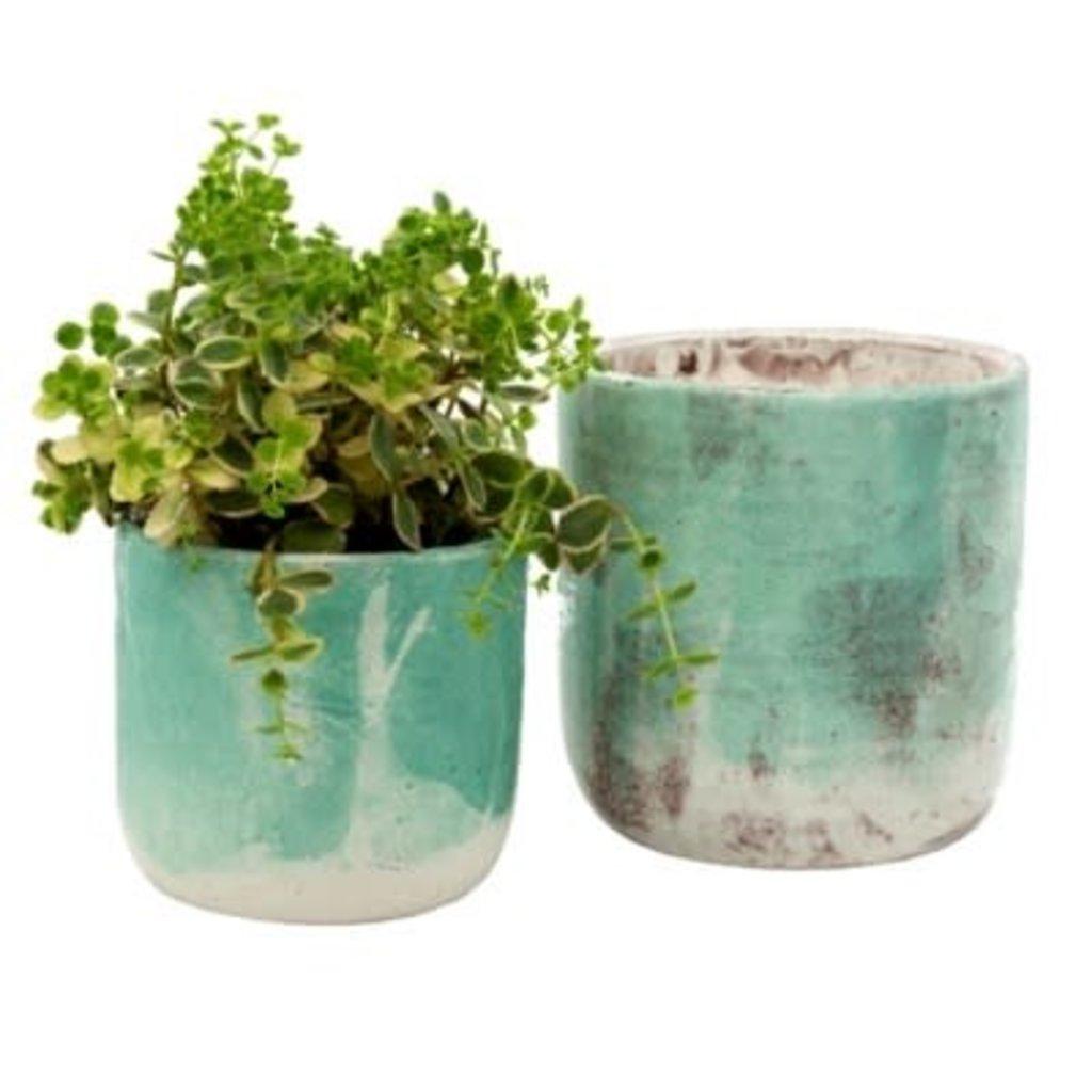 Indaba Palette Pots Set of 2, Aqua