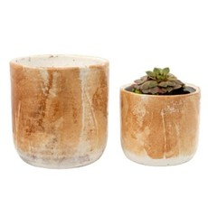 Indaba Palette Pots Set of 2, Honey