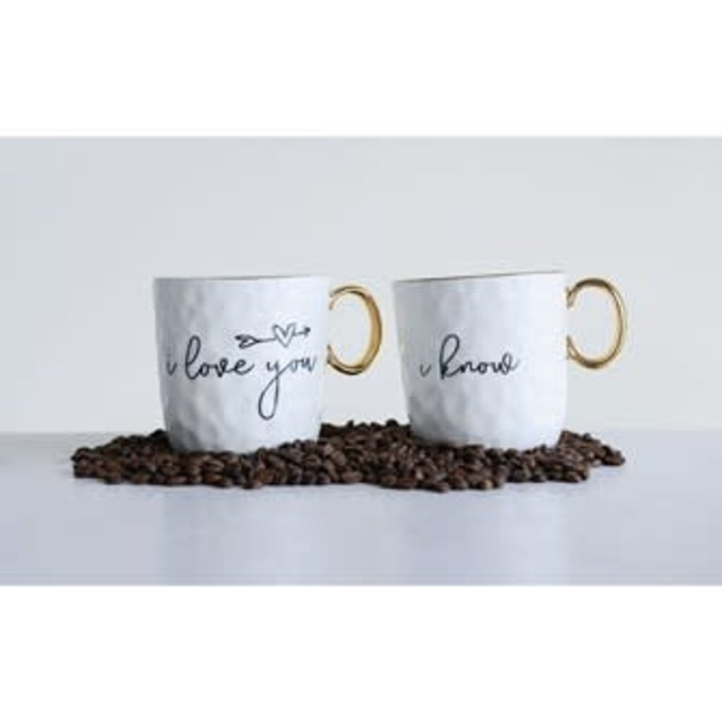 Creative Coop Stoneware Mug W/ Sayings & Gold Electroplating