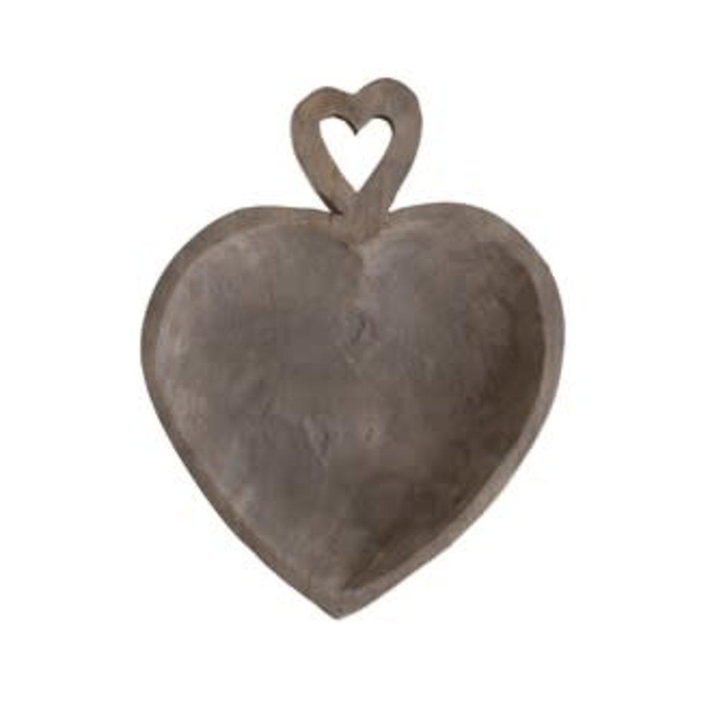 Creative Coop Decorative Heart Shaped Wood Tray - Grey Wash