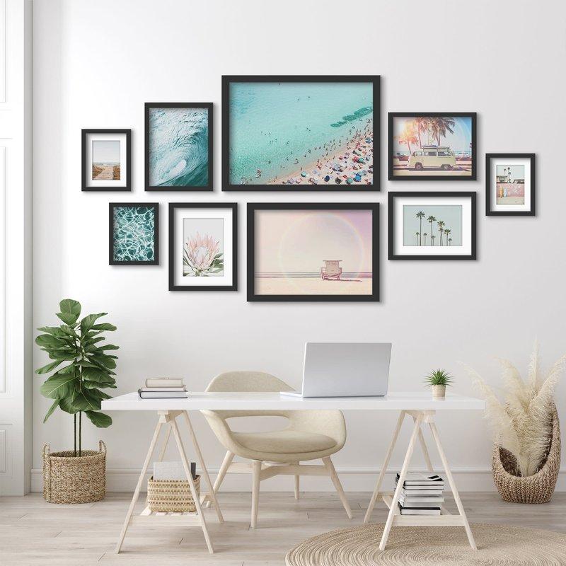 AmericanFlat Home Coastal Beach Views - 9 Piece Framed Gallery Wall Art Set - Black