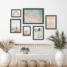AmericanFlat Home Pastel Beach Art - 6 Piece Framed Gallery Wall Set  Black