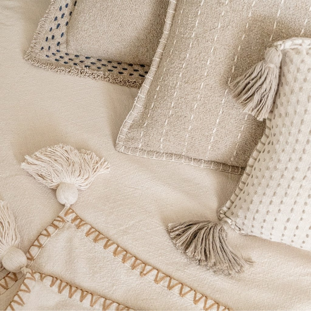 Anaya Home Hand Quilted Stripes Cotton Pillow
