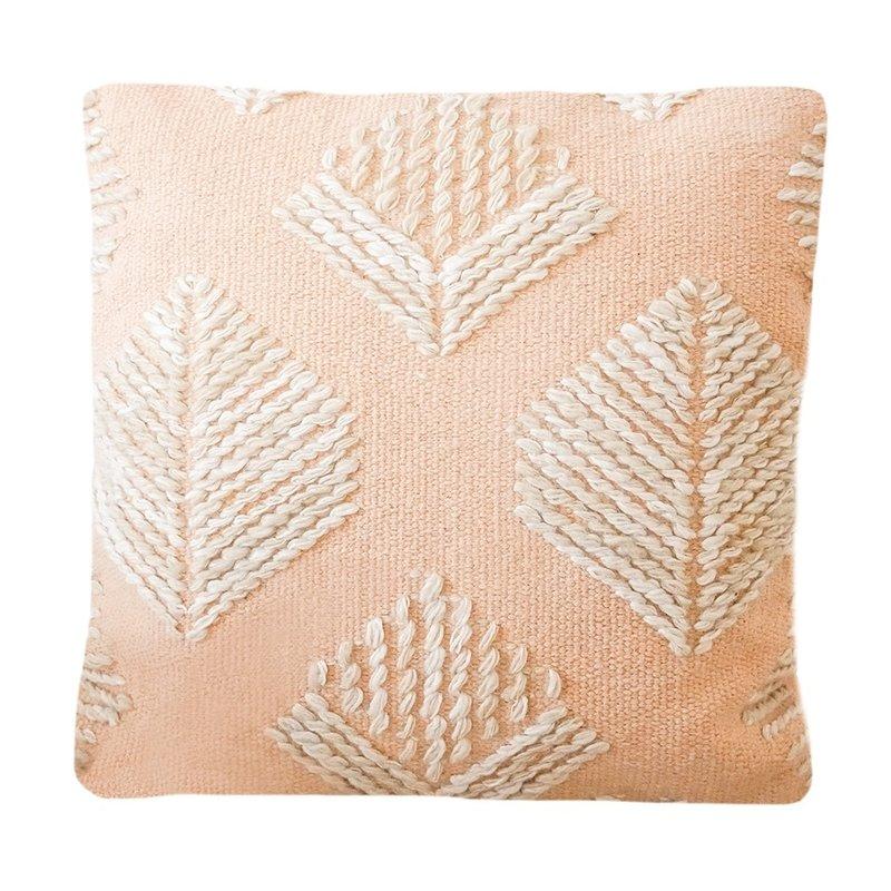 Anaya Home Pink Geometric Leaf Embroidered Pillow