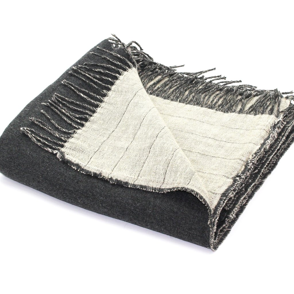 Harlow Henry Reversible Throw - Linen/Merino Wool - Charcoal