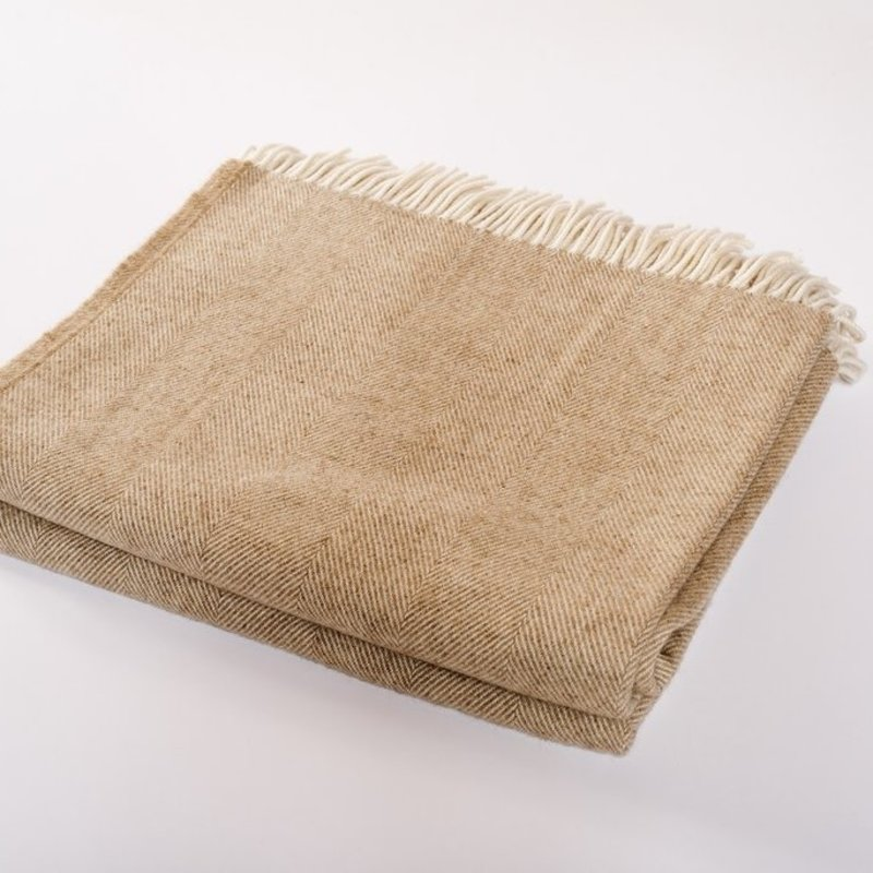 Harlow Henry Merino Wool Collection Throw - Sepia