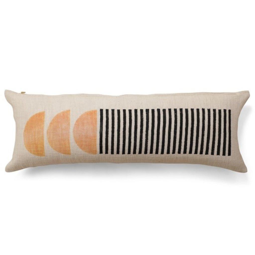 Casa Amarosa Celestial Lumbar Pillow, Black & Gold Earth - 12x34 Inch