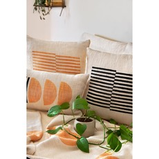 Casa Amarosa Celestial Stripe Pillow, Gold Earth - - 18x18 inch