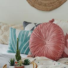 Casa Amarosa Stripe Sky Cushion, Aqua - 14x20 inch