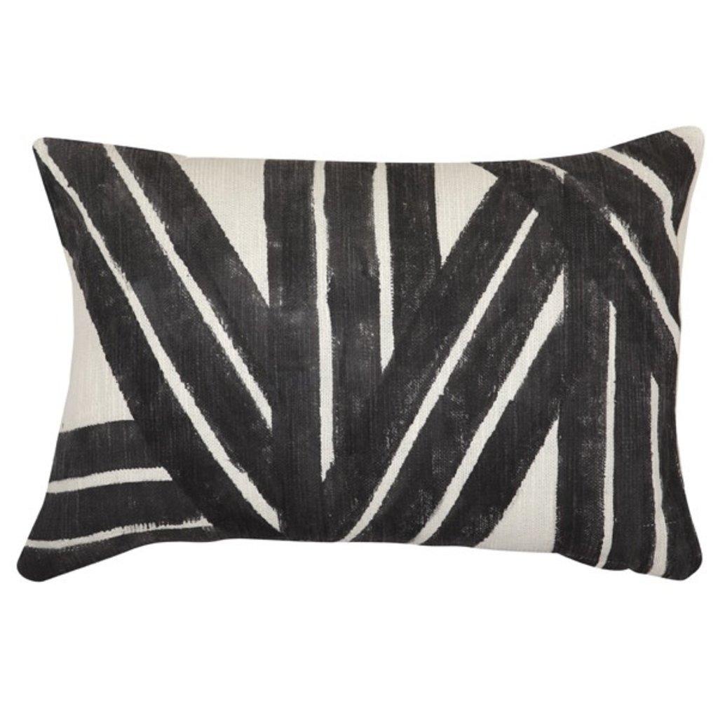 Casa Amarosa Stripe Sky Cushion, Black - 14x20 inch