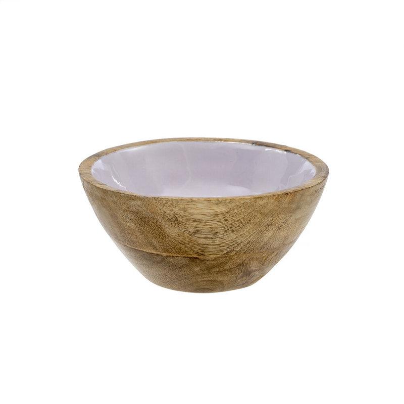 Indaba Wood & Enamel Bowl L, Lavender
