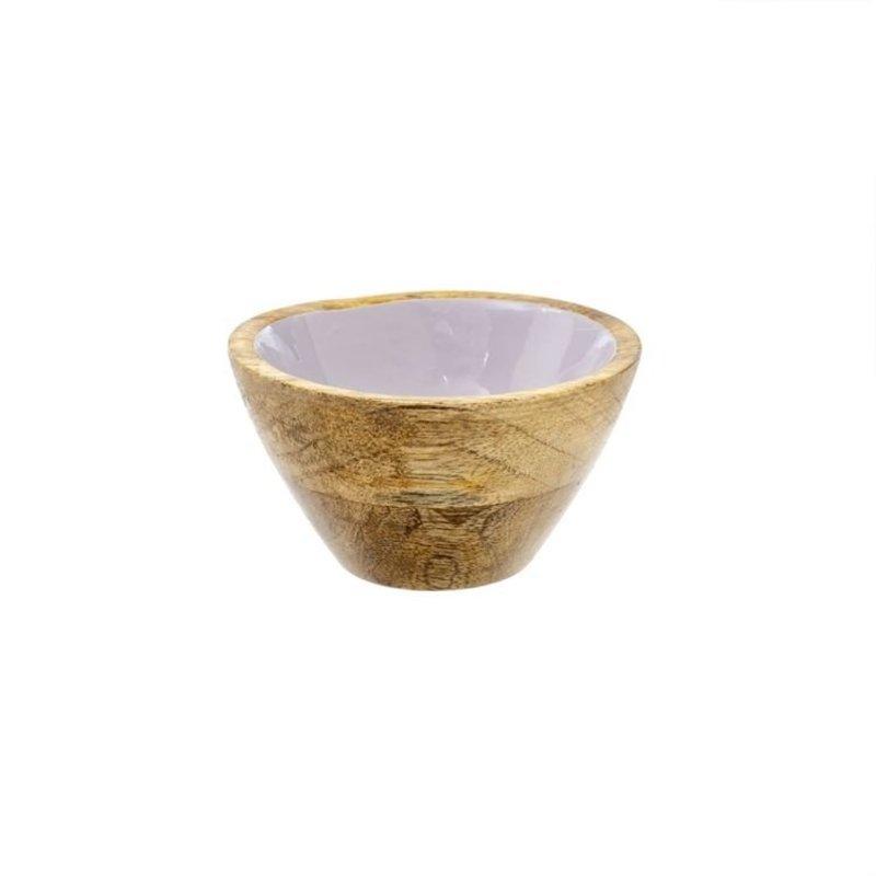 Indaba Wood & Enamel Bowl S, Lavender